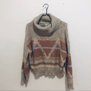 Forever 21 Pink/Beige Cowl Neck Sweater